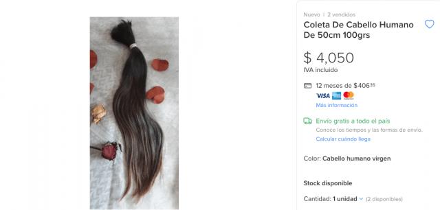 Venta de extensiones de cabello (Imagen: mercadolibre)