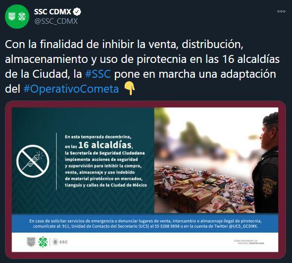 Tweet de la SSC sobre el operativo para evitar el uso de pirotecnia en la CDMX