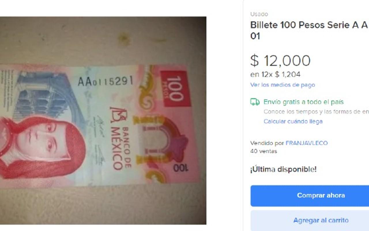 Billete de 100 pesos está a la venta