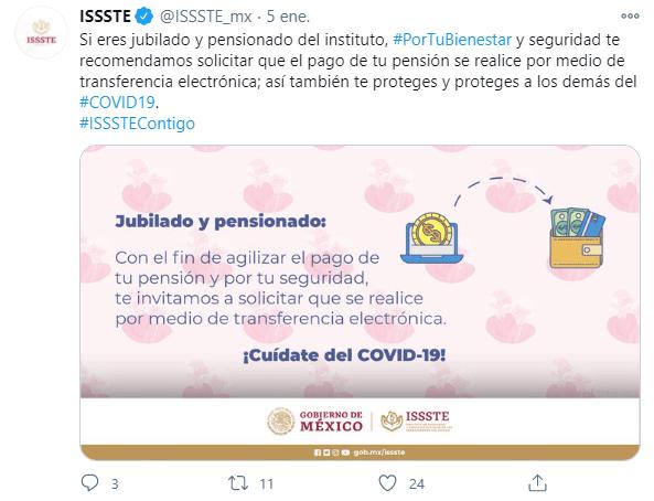 Post en Twitter del ISSSTE sobre el pago de pensiones a través de transferencias electrónicas