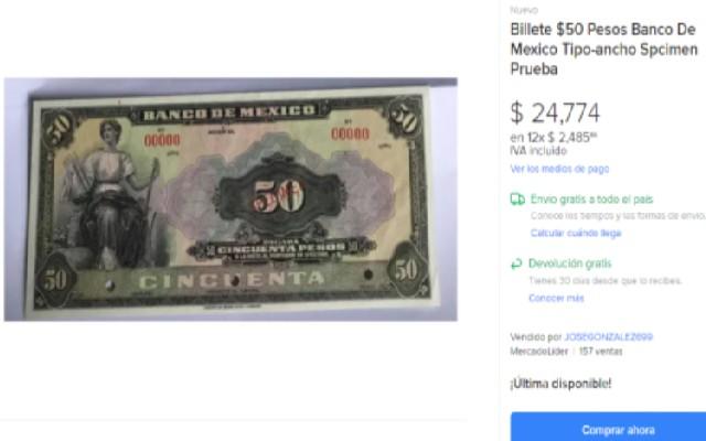 Este es el billete de 50 pesos que se vende en casi 25 mil pesos