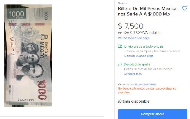 Este es el billete de mil pesos que se vende en más de 7 mil pesos