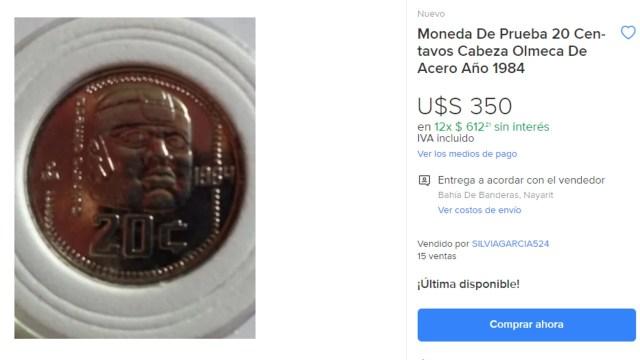 Esta es la moneda de 20 centavos que se vende en 350 dólares
