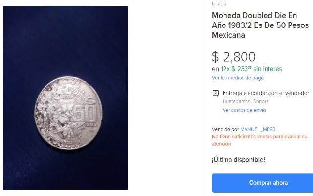 Esta es la moneda de 50 pesos que se vende en casi 3 mil pesos