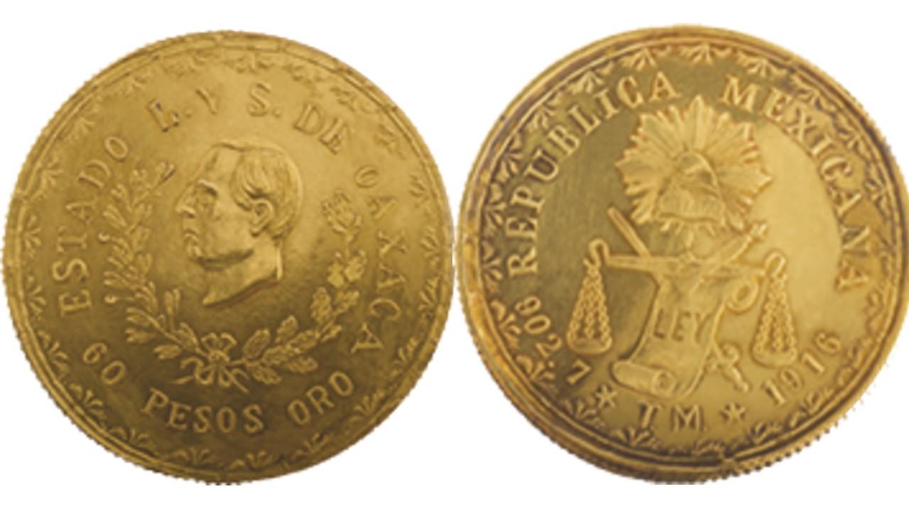 Esta es la moneda de oro provisional de Oaxaca de 60 pesos