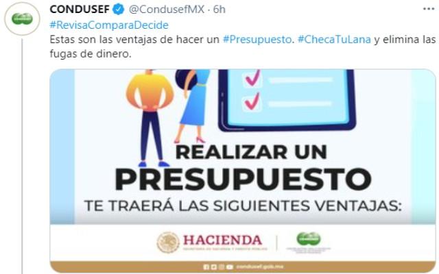 La Condusef compartió sus tips de presupuesto a través de sus redes sociales