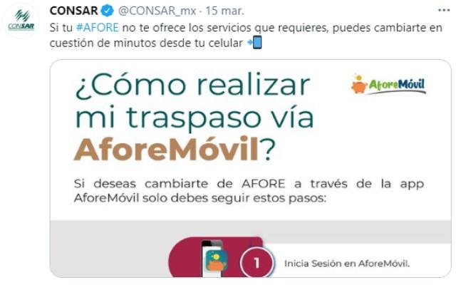 La Consar compartió a través de redes sociales cómo se puede cambiar de Afore desde el celular