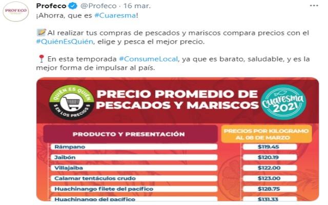 Profeco compartió en redes sociales el costo de los alimentos para Cuaresma