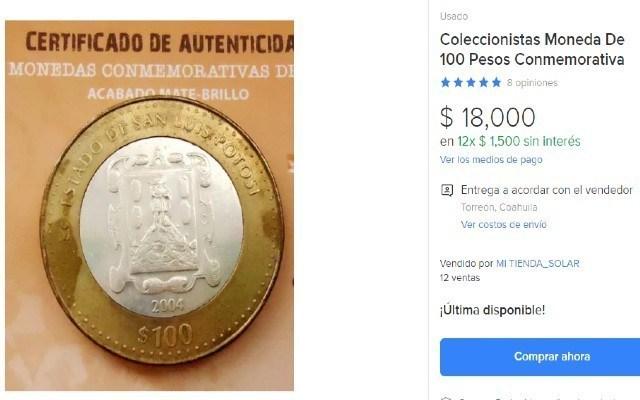Una moneda de tan solo 100 pesos la llegan a vender en 18 mil pesos