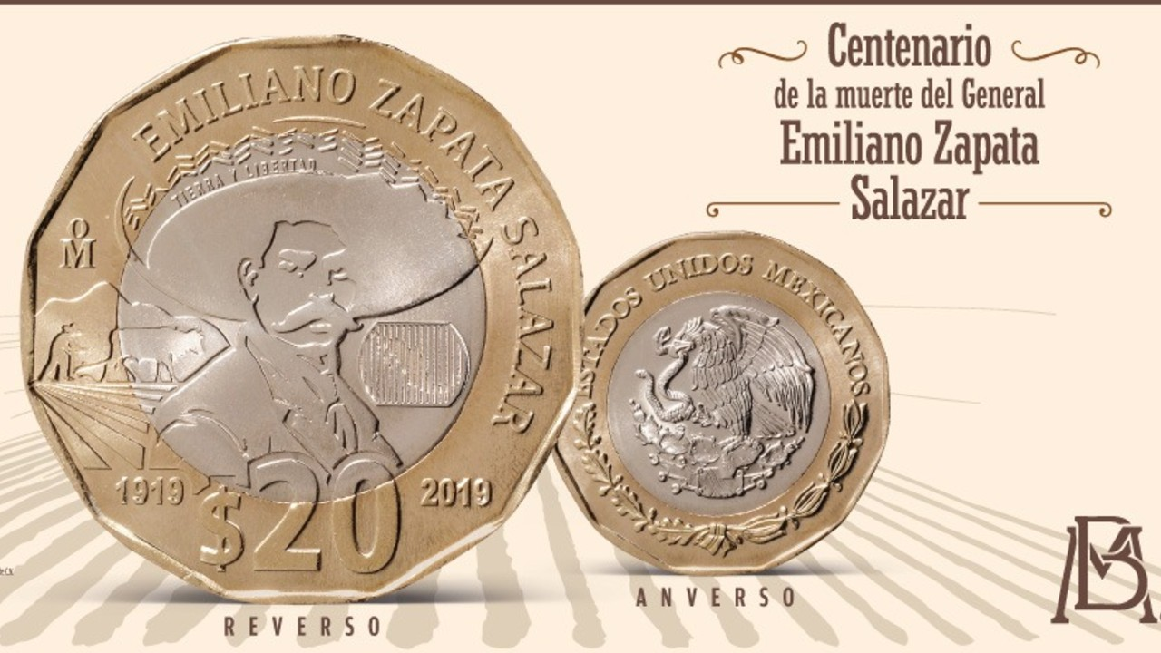 Así es la nueva moneda de 20 pesos de Banxico con la imagen de Zapata