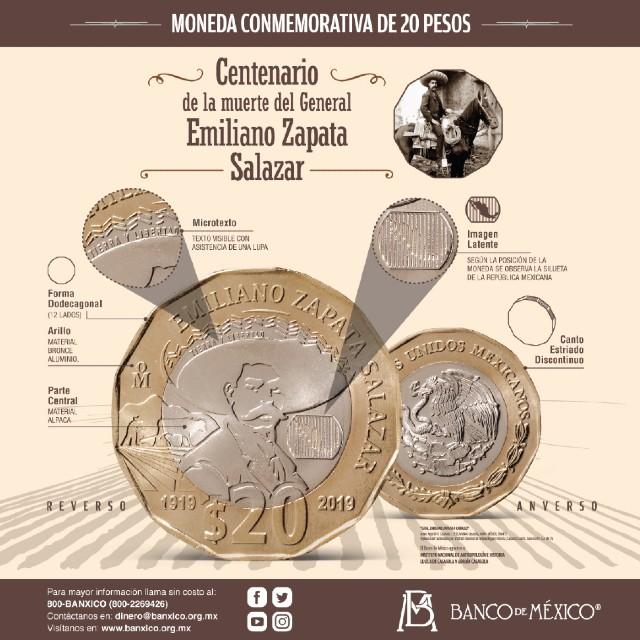 Esta es la moneda de 20 pesos del general revolucionario