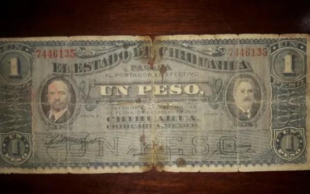 Este es un lado del billete de 1 peso de la Revolución Mexicana