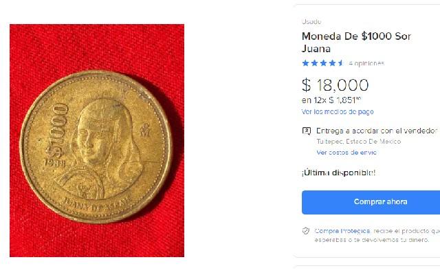 Esta es la moneda de mil pesos de Juana de Asbaje
