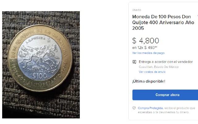 Esta es una de las monedas de 100 pesos que se venden en casi 5 mil pesos
