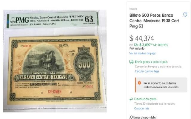 Este es el billete de 500 pesos que se vende en alrededor de 44 mil pesos