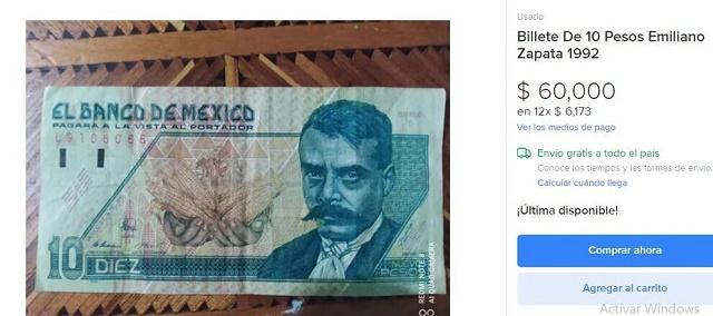 Billetes que se venden en línea hasta en 84 mil pesos