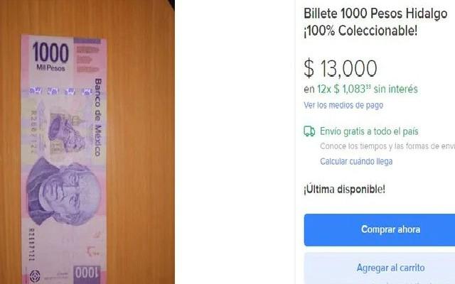 Este es el billete de mil pesos que se vende en 13 mil pesos