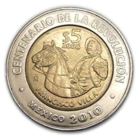 Esta moneda de 5 pesos con la imagen de Francisco Villa conmemora la Revolución Mexicana