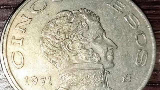 Esta moneda de Vicente Guerrero con denominación de 5 pesos se vende en 20 mil pesos