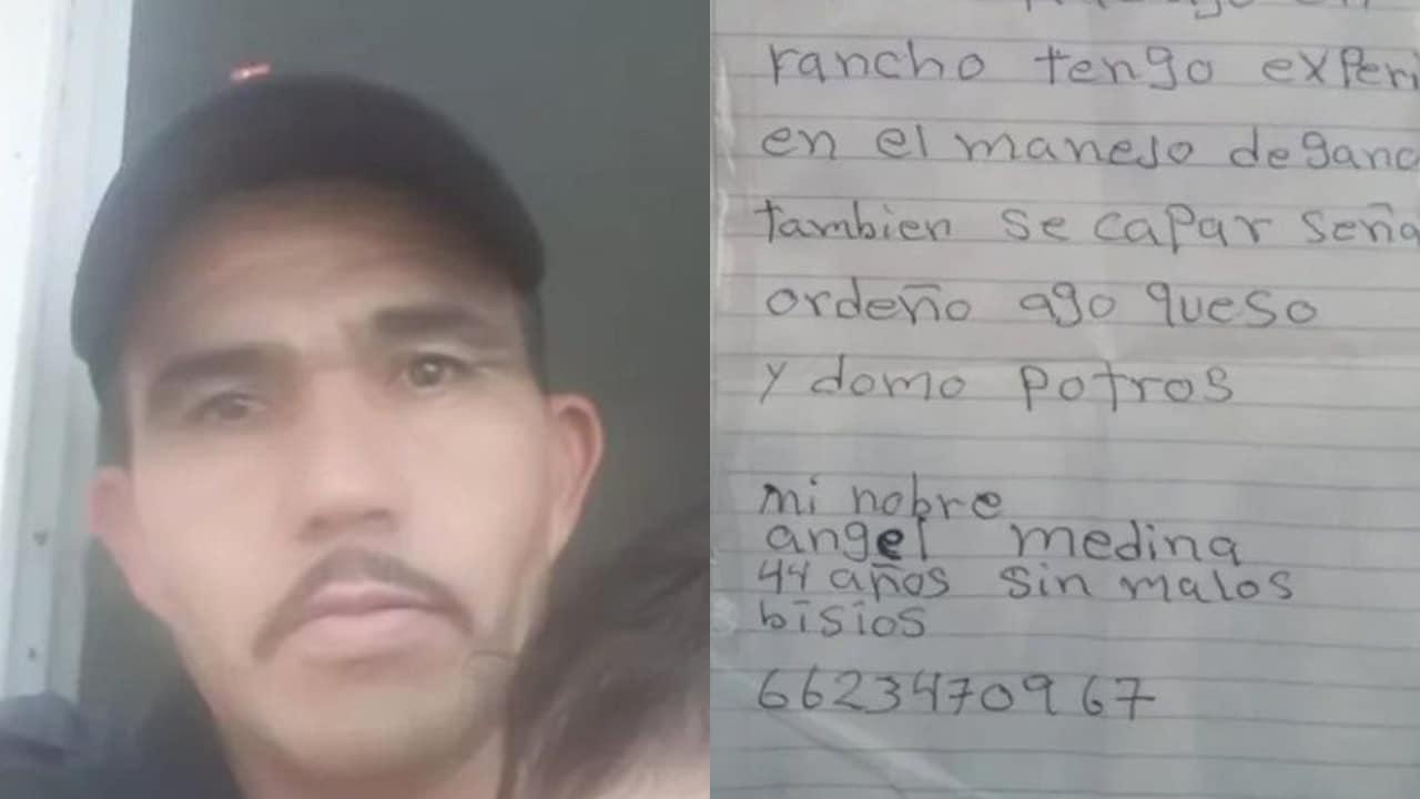 Ángel Medina, de 44 años de edad, perdió su empleo y decidió redactar su currículum a mano, el hombre recibió cerca de 30 ofertas de trabajo