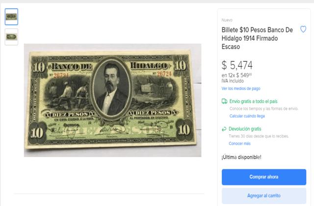 Billete del Banco de Hidalgo cuánto vale
