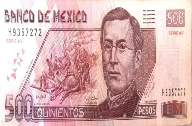 billete de 500 pesos de Ignacio Zaragoza