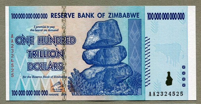 Zimbabue pone en circulación su billete de mayor valor