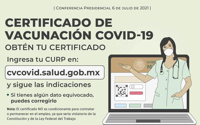 Certificado de vacunación para residentes mexicanos