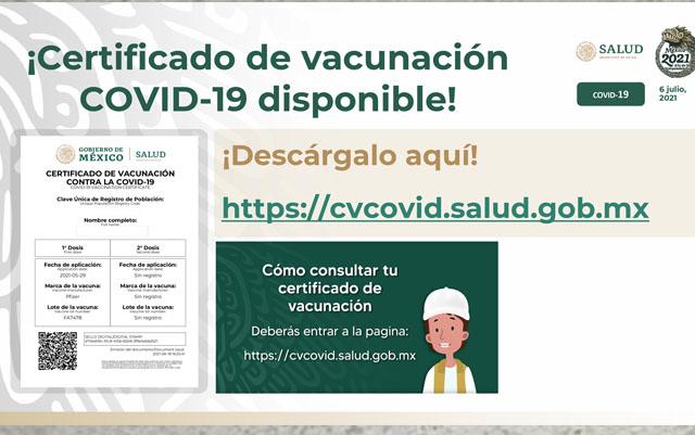 Certificado de vacunación es gratuito