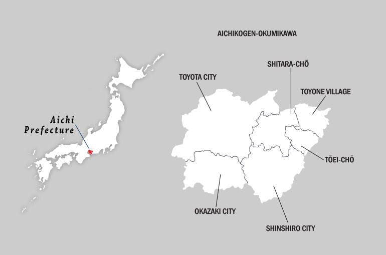 Location map of Mikawa highlands in Aichi Prefecture in Japan