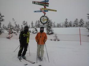 新雪の神楽山頂