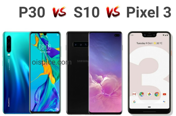 Compare Between Huawei P30 vs Samsung Galaxy S10 vs Google Pixel 3