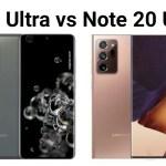 Samsung Galaxy S20 Ultra vs Samsung Galaxy Note 20 Ultra