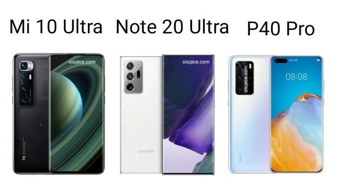 Xiaomi Mi 10 Ultra vs Samsung Galaxy Note 20 Ultra vs Huawei P40 Pro