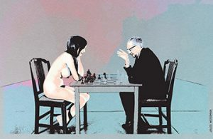 A Jules Weissman illustration of the famous Julian Wasser photo of Eve Babitz playing chess with Marcel Duchamp.