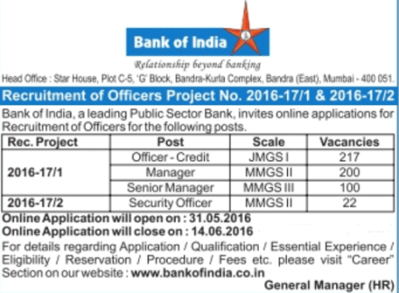 bank of India various Recruitment 2016