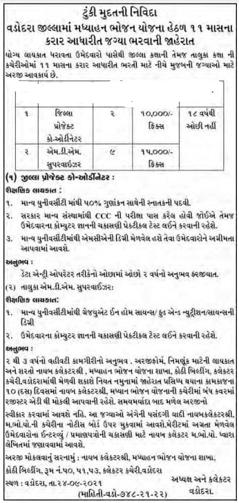 Mid Day Meal Recruitment 2021 Gujarat