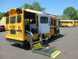 Schoolbus with wheelchair lift