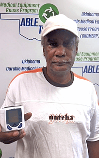 G Parker has diabetes and high blood pressure. The blood pressure meter allows him to monitor his status at home.