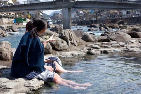 玖珠川に面した「共同露天風呂」もおススメ。(100円)
