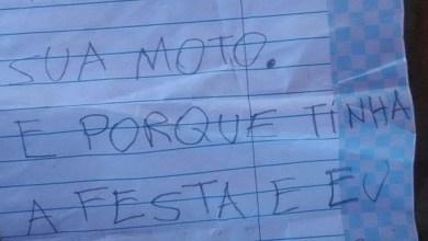 Photo of Homem rouba moto e abandona veículo com bilhete de desculpa: 'tinha a festa e eu tinha que ir'