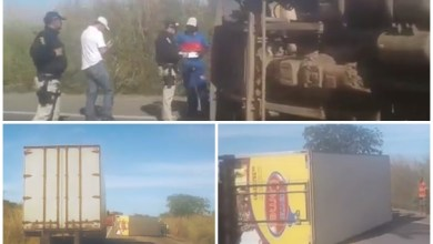 Photo of Milagres (CE): Caminhão carregado com carne tomba na BR-116, próximo a entrada da cidade