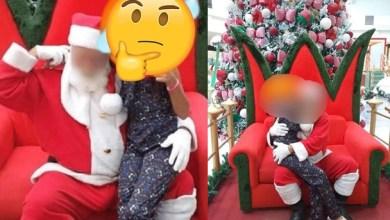 """Foto de Mãe denuncia Papai Noel supostamente excitado; """"ele ficava a segurar a menina"""""""