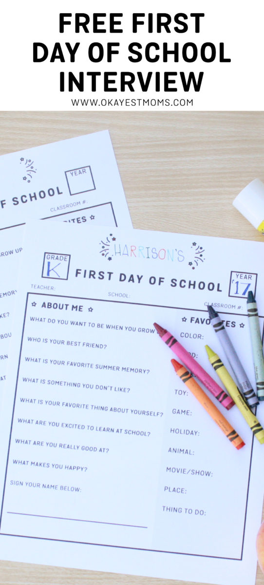 image regarding First Day of School Interview Printable identified as 1st Working day Of College Job interview - Free of charge Printable - Okayest Mothers