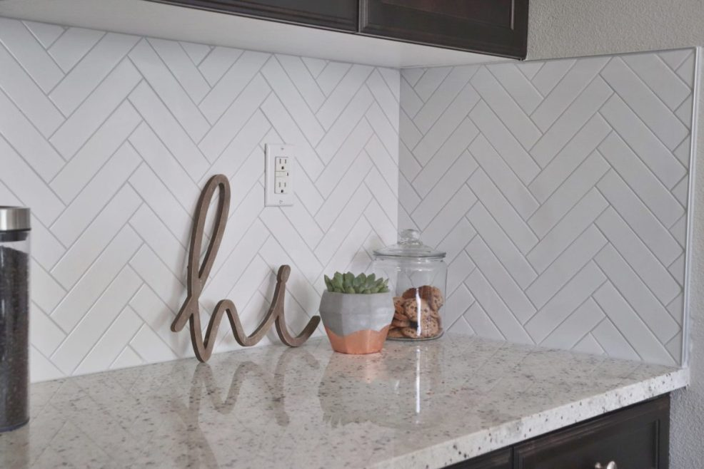 Brilliant Herringbone Subway Tile Backsplash Reveal Okayest Moms Interior Design Ideas Tzicisoteloinfo
