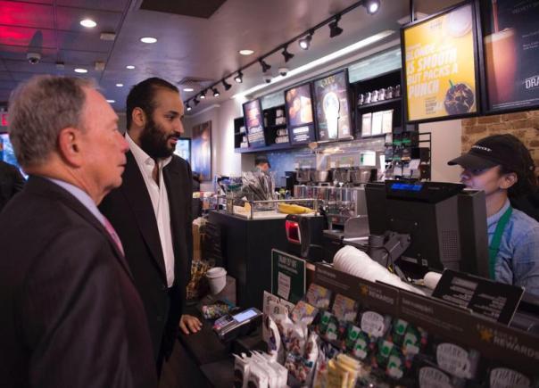 صور.. الأمير محمد بن سلمان في أحد مقاهي نيويورك