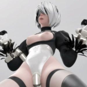 【ニーア オートマタ】2Bが機械触手に拘束されてマンズリされるVRエロ動画