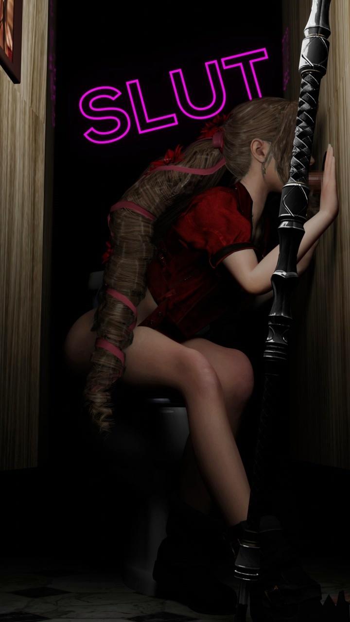 [ファイナルファンタジーVII リメイク] エアリスが公衆トイレでグローリーホール 3DCG 03