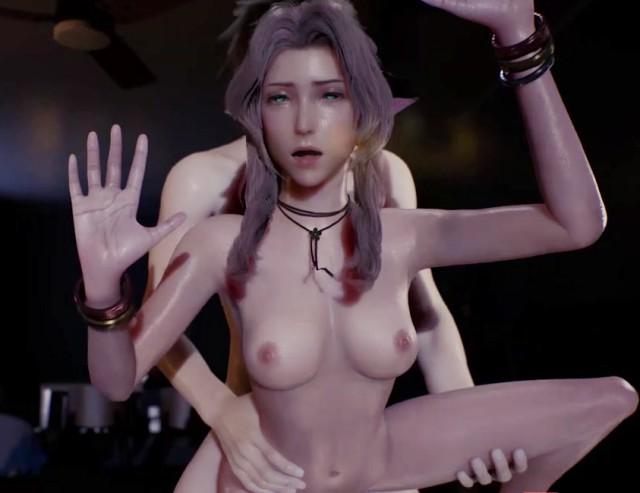 【3Dエロ動画】エアリスさん、カーテン全開でスリル満点の窓際セックスしてしまう・・・。(FF7R)