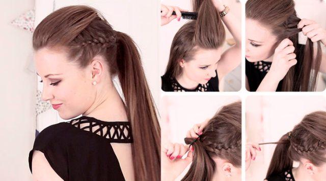 Menina, com, um, pigtail, penteado, e, tranças